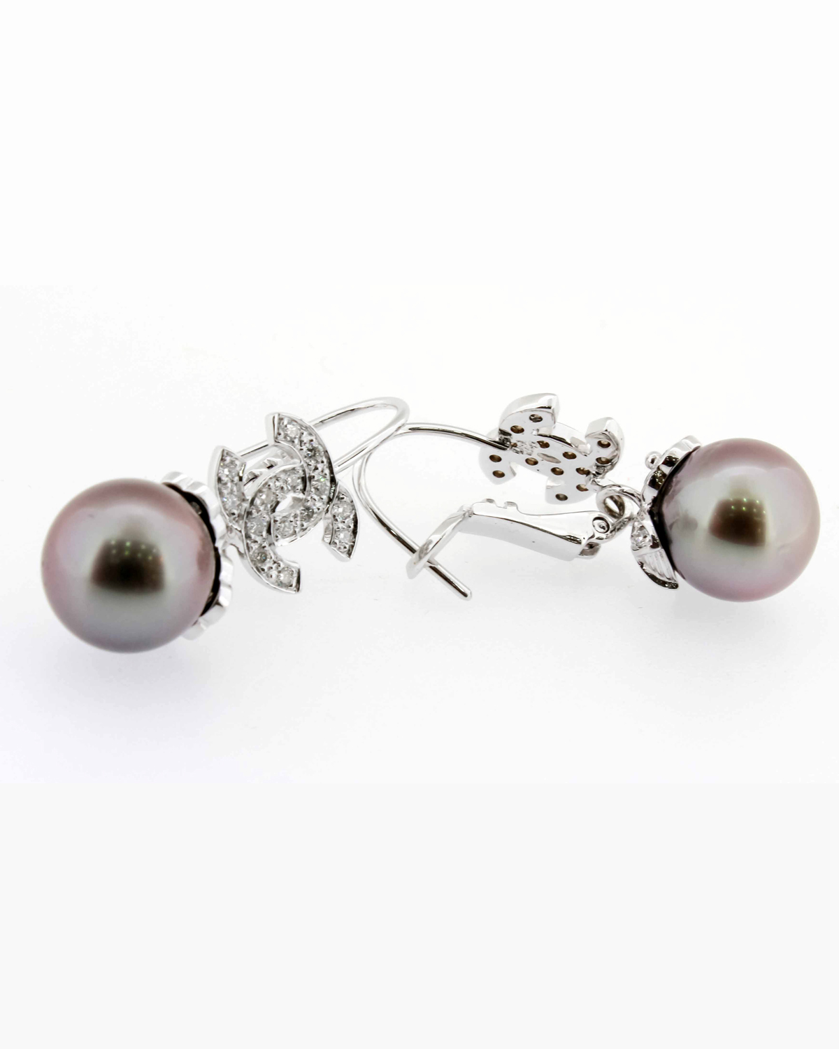pure american in earrings diamonds black and pearls